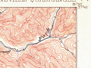 Reduced fragment of topographic map en--usgs--063k--061018--(1912)--N037-45_W081-45--N037-30_W081-30; towns and cities Pineville, Oceana