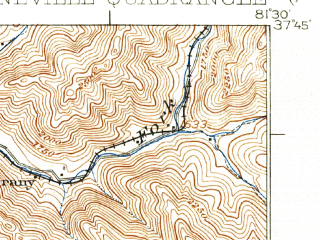 Reduced fragment of topographic map en--usgs--063k--061018--(1927)--N037-45_W081-45--N037-30_W081-30; towns and cities Oceana, Pineville