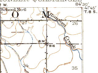 Reduced fragment of topographic map en--usgs--063k--061026--(1914)--N041-45_W084-45--N041-30_W084-30; towns and cities Blakeslee, Montpelier, Pioneer