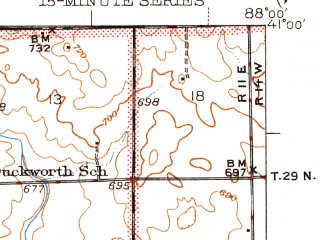 Reduced fragment of topographic map en--usgs--063k--061027--(1947)--N041-00_W088-15--N040-45_W088-00; towns and cities Cabery, Kempton, Piper City