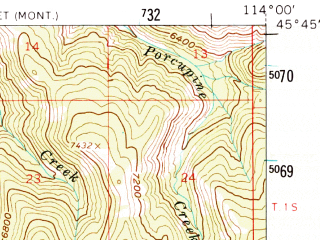 Reduced fragment of topographic map en--usgs--063k--061029--(1960)--N045-45_W114-15--N045-30_W114-00