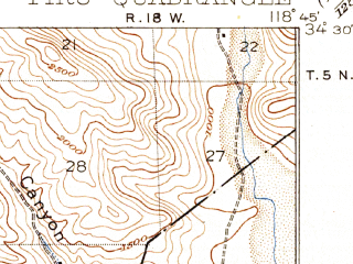 Reduced fragment of topographic map en--usgs--063k--061030--(1921)--N034-30_W119-00--N034-15_W118-45; towns and cities Simi Valley, Moorpark, Fillmore, Piru