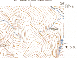 Reduced fragment of topographic map en--usgs--063k--061034--(1945)--N038-45_W106-45--N038-30_W106-30; towns and cities Pitkin