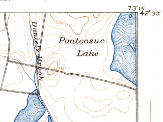 Reduced fragment of topographic map en--usgs--063k--061040--(1890)--N042-30_W073-30--N042-15_W073-15 in area of Onota Lake; towns and cities Pittsfield, Housatonic, Lee, Lenox