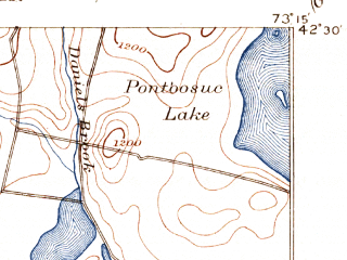 Reduced fragment of topographic map en--usgs--063k--061040--(1894)--N042-30_W073-30--N042-15_W073-15 in area of Onota Lake; towns and cities Pittsfield, Housatonic, Lee, Lenox