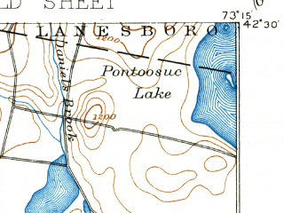 Reduced fragment of topographic map en--usgs--063k--061040--(1897)--N042-30_W073-30--N042-15_W073-15 in area of Onota Lake; towns and cities Pittsfield, Housatonic, Lee, Lenox