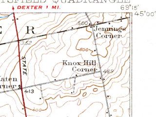 Reduced fragment of topographic map en--usgs--063k--061041--(1933)--N045-00_W069-30--N044-45_W069-15 in area of Indian Pond, Douglas Pond; towns and cities Pittsfield, Hartland, Newport