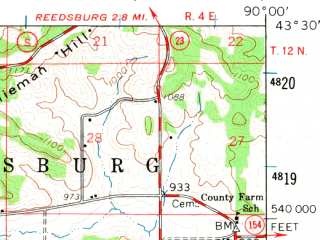 Reduced fragment of topographic map en--usgs--063k--061048--(1960)--N043-30_W090-15--N043-15_W090-00; towns and cities Lime Ridge, Loganville, Plain