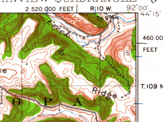 Reduced fragment of topographic map en--usgs--063k--061058--(1934)--N044-15_W092-15--N044-00_W092-00; towns and cities Elba, Plainview