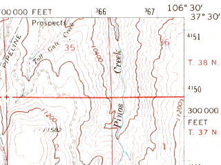 Reduced fragment of topographic map en--usgs--063k--061066--(1967)--N037-30_W106-45--N037-15_W106-30