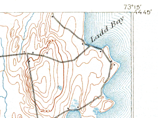 Reduced fragment of topographic map en--usgs--063k--061069--(1894)--N044-45_W073-30--N044-30_W073-15; towns and cities Plattsburgh, Plattsburgh Afb, Cumberland Head, Keeseville