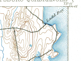 Reduced fragment of topographic map en--usgs--063k--061069--(1906)--N044-45_W073-30--N044-30_W073-15; towns and cities Plattsburgh, Plattsburgh Afb, Cumberland Head, Keeseville