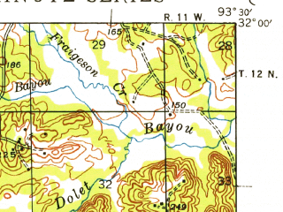 Reduced fragment of topographic map en--usgs--063k--061073--(1943)--N032-00_W093-45--N031-45_W093-30; towns and cities Converse, Pleasant Hill