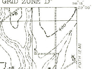 Reduced fragment of topographic map en--usgs--063k--061077--(1956)--N029-00_W098-30--N028-45_W098-15; towns and cities Pleasanton, Christine