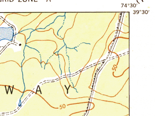 Reduced fragment of topographic map en--usgs--063k--061078--(1943)--N039-30_W074-45--N039-15_W074-30; towns and cities Ocean City, Pleasantville, Somers Point, Margate City, Northfield