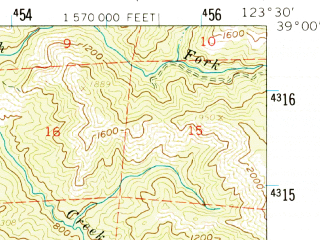 Reduced fragment of topographic map en--usgs--063k--061088--(1960)--N039-00_W123-45--N038-45_W123-30; towns and cities Point Arena