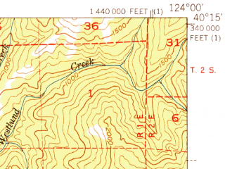 Reduced fragment of topographic map en--usgs--063k--061091--(1951)--N040-15_W124-15--N040-00_W124-00