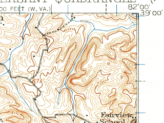 Reduced fragment of topographic map en--usgs--063k--061118--(1926)--N039-00_W082-15--N038-45_W082-00; towns and cities Cheshire, Gallipolis, Henderson