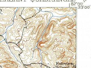 Reduced fragment of topographic map en--usgs--063k--061118--(1929)--N039-00_W082-15--N038-45_W082-00; towns and cities Cheshire, Gallipolis, Henderson