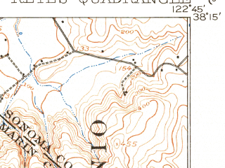 Reduced fragment of topographic map en--usgs--063k--061119--(1916)--N038-15_W123-00--N038-00_W122-45; towns and cities Inverness