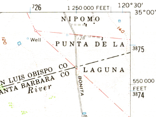 Reduced fragment of topographic map en--usgs--063k--061121--(1959)--N035-00_W120-45--N034-45_W120-30; towns and cities Guadalupe