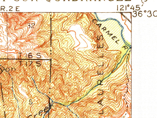 Reduced fragment of topographic map en--usgs--063k--061122--(1918)--N036-30_W122-00--N036-15_W121-45