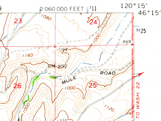 Reduced fragment of topographic map en--usgs--063k--061125--(1965)--N046-15_W120-30--N046-00_W120-15