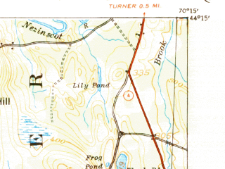 Reduced fragment of topographic map en--usgs--063k--061130--(1942)--N044-15_W070-30--N044-00_W070-15 in area of Taylor Pond; towns and cities Mechanic Falls