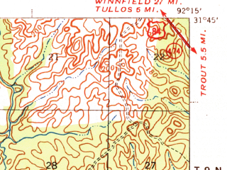 Reduced fragment of topographic map en--usgs--063k--061137--(1941)--N031-45_W092-30--N031-30_W092-15; towns and cities Pollock