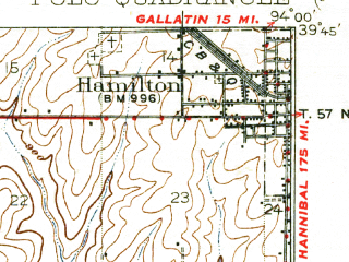 Reduced fragment of topographic map en--usgs--063k--061138--(1924)--N039-45_W094-15--N039-30_W094-00; towns and cities Cameron, Elmira, Hamilton