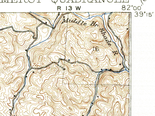 Reduced fragment of topographic map en--usgs--063k--061141--(1907)--N039-15_W082-15--N039-00_W082-00; towns and cities Middleport, Pomeroy, Rutland