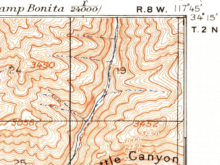 Reduced fragment of topographic map en--usgs--063k--061142--(1894)--N034-15_W118-00--N034-00_W117-45 in area of San Gabreil Reservoir, Morris Reservoir, Puddingstone Reservoir; towns and cities Pomona, West Covina, Baldwin Park, Glendora, Walnut