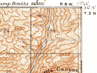 Reduced fragment of topographic map en--usgs--063k--061142--(1904)--N034-15_W118-00--N034-00_W117-45 in area of San Gabreil Reservoir, Morris Reservoir, Puddingstone Reservoir; towns and cities Pomona, West Covina, Baldwin Park, Covina, Duarte