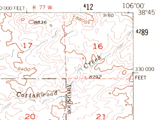 Reduced fragment of topographic map en--usgs--063k--061144--(1956)--N038-45_W106-15--N038-30_W106-00; towns and cities Salida, Poncha Springs