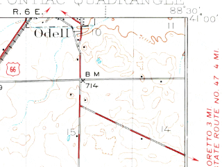 Reduced fragment of topographic map en--usgs--063k--061151--(1935)--N041-00_W088-45--N040-45_W088-30; towns and cities Pontiac, Cornell