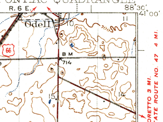 Reduced fragment of topographic map en--usgs--063k--061151--(1939)--N041-00_W088-45--N040-45_W088-30; towns and cities Pontiac, Cornell