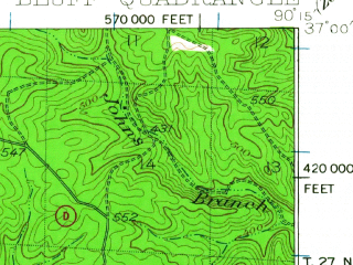 Reduced fragment of topographic map en--usgs--063k--061155--(1949)--N037-00_W090-30--N036-45_W090-15; towns and cities Poplar Bluff