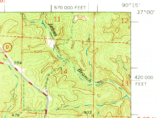 Reduced fragment of topographic map en--usgs--063k--061155--(1968)--N037-00_W090-30--N036-45_W090-15; towns and cities Poplar Bluff