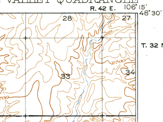 Reduced fragment of topographic map en--usgs--063k--061157--(1918)--N048-30_W106-30--N048-15_W106-15