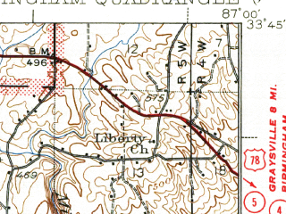 Reduced fragment of topographic map en--usgs--063k--061174--(1938)--N033-45_W087-15--N033-30_W087-00; towns and cities West Jefferson, Dora, Sylvan Springs