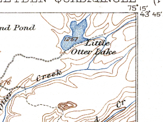Reduced fragment of topographic map en--usgs--063k--061182--(1940)--N043-45_W075-30--N043-30_W075-15; towns and cities Constableville, Lyons Falls, Port Leyden
