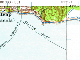 Reduced fragment of topographic map en--usgs--063k--061202--(1937)--N047-45_W122-45--N047-30_W122-30; towns and cities Bremerton, East Port Orchard, Silverdale, Parkwood, Manchester