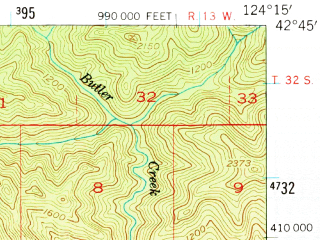 Reduced fragment of topographic map en--usgs--063k--061203--(1954)--N042-45_W124-30--N042-30_W124-15; towns and cities Port Orford
