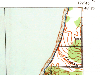 Reduced fragment of topographic map en--usgs--063k--061207--(1939)--N048-15_W123-00--N048-00_W122-45; towns and cities Port Townsend, Irondale