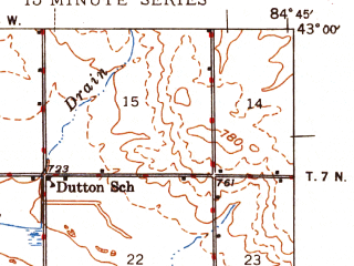 Reduced fragment of topographic map en--usgs--063k--061228--(1945)--N043-00_W085-00--N042-45_W084-45; towns and cities Sunfield, Westphalia, Eagle