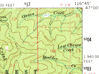 Reduced fragment of topographic map en--usgs--063k--061236--(1960)--N047-00_W117-00--N046-45_W116-45; towns and cities Onaway, Potlatch