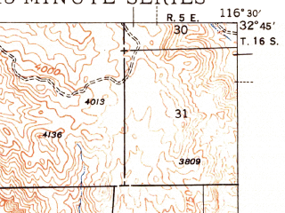 Reduced fragment of topographic map en--usgs--063k--061240--(1944)--N032-45_W116-45--N032-30_W116-30 in area of Morena Reservoir, Barrett Lake; towns and cities Tecate
