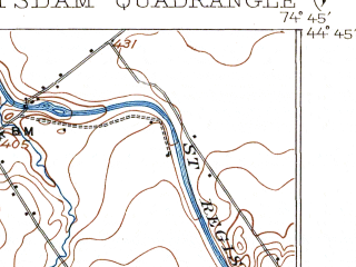 Reduced fragment of topographic map en--usgs--063k--061243--(1908)--N044-45_W075-00--N044-30_W074-45 in area of South Colton Reservoir, Five Falls Reservoir; towns and cities Potsdam, Norwood