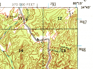 Reduced fragment of topographic map en--usgs--063k--061247--(1944)--N034-45_W089-30--N034-30_W089-15; towns and cities Potts Camp