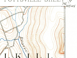 Reduced fragment of topographic map en--usgs--063k--061249--(1889)--N040-45_W076-15--N040-30_W076-00; towns and cities Pottsville, Schuylkill Haven, New Philadelphia, Orwigsburg, Palo Alto